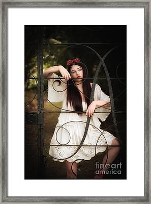 Woman At Gate Framed Print by Amanda Elwell