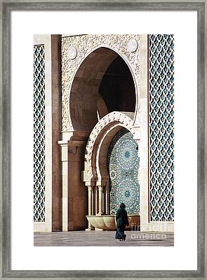 Woman At Mosque - Casablanca Framed Print by Linda  Parker