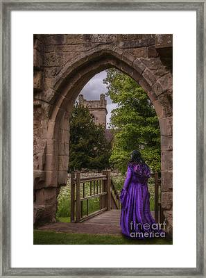Woman At Old Castle Framed Print by Amanda Elwell