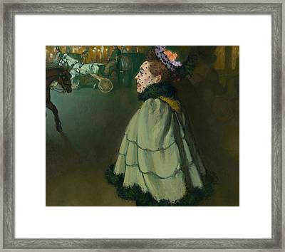 Woman At The Champs-elysees By Night Framed Print by Louis Anquetin