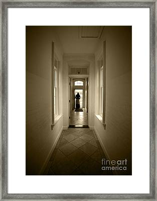 Woman At The Door Framed Print