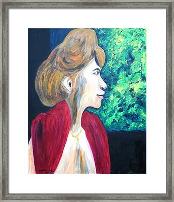 Framed Print featuring the painting Woman At The Window by Esther Newman-Cohen