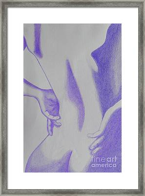 Framed Print featuring the drawing Woman Back Purple by Fanny Diaz