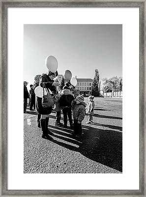Woman Balloon And Boy Framed Print
