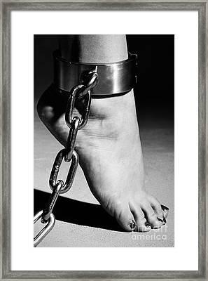 Woman Barefoot In Steel Cuffes Framed Print