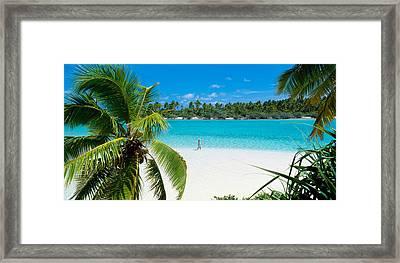Woman Beach One Foot Island Cook Islands Framed Print