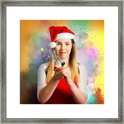 Woman Beginning The New Year With A Bang Framed Print