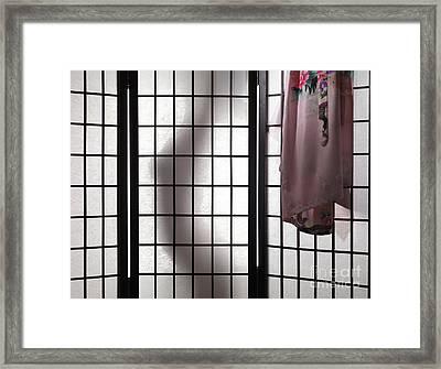 Woman Behind Shoji Screen Framed Print by Oleksiy Maksymenko