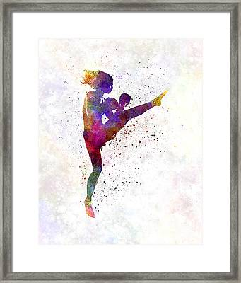 Woman Boxer Boxing Kickboxing Silhouette Isolated 01 Framed Print