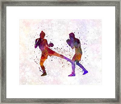 Woman Boxer Boxing Man Kickboxing Silhouette Isolated 02 Framed Print