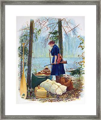 Woman Camper Cropped Framed Print