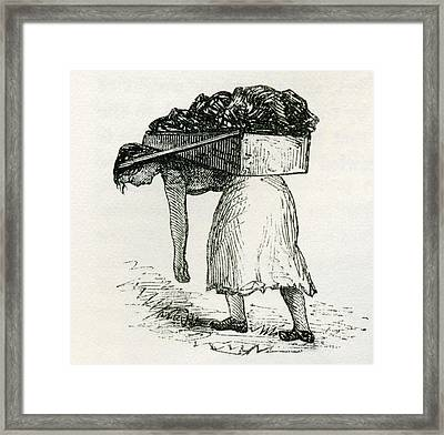 Woman Carrying Coal To Surface In East Framed Print