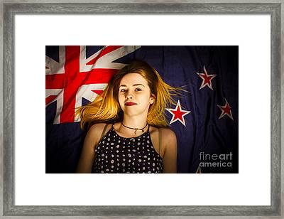 Woman Celebrating Australia Day On Australian Flag Framed Print by Jorgo Photography - Wall Art Gallery
