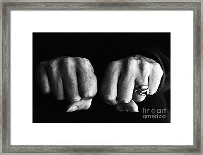 Woman Clenching Two Hands Into Fists In A Fit Of Aggression Framed Print by Sami Sarkis