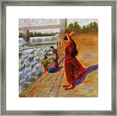 Woman Combing Her Hair Framed Print by Uma Krishnamoorthy