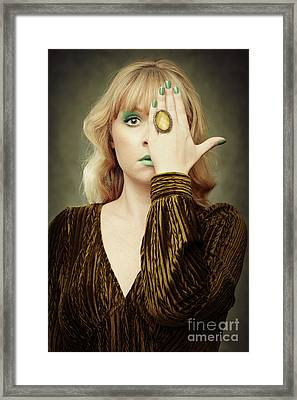 Woman Covering Her Eye Framed Print