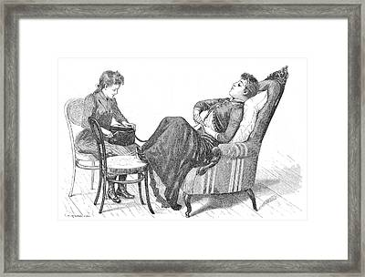 Woman Demonstrating Medical Vibrator Framed Print by Wellcome Images