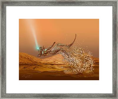 Woman Diver Emerges From A Lake On Titan Framed Print by Chad Glass