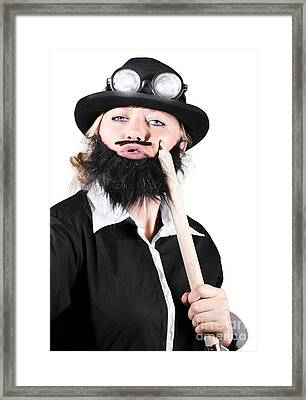 Woman Dressed Like Man With Large Pencil Framed Print by Jorgo Photography - Wall Art Gallery