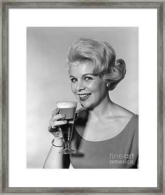 Woman Drinking Beer, C.1960s Framed Print by H. Armstrong Roberts/ClassicStock
