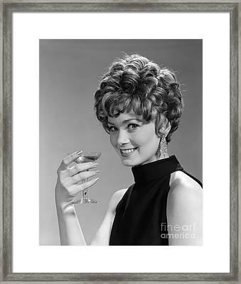 Woman Drinking Champagne, C.1960s Framed Print by H. Armstrong Roberts/ClassicStock