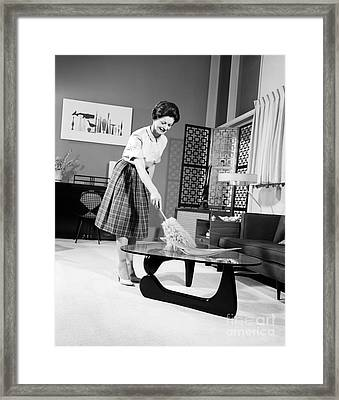 Woman Dusting, C.1950-60s Framed Print by H. Armstrong Roberts/ClassicStock