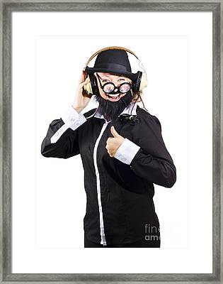 Woman Enjoying Music Framed Print