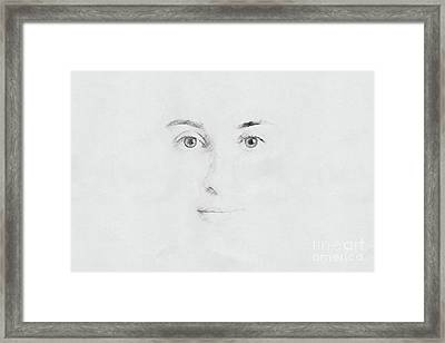 Woman Face Sketch On Paper Framed Print by Radu Bercan