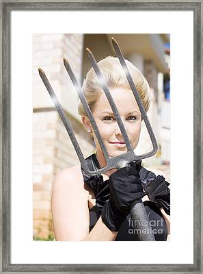 Woman Giving The Garden Forks Framed Print