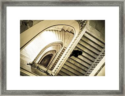 Woman Going Down At Staircase Framed Print by Perry Van Munster