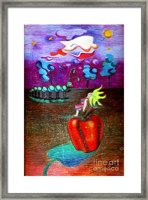 Woman Guarding The Apple Framed Print by Genevieve Esson