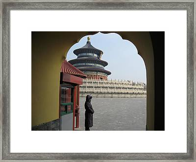 Woman Guarding The Temple Of Heaven Framed Print by James Lukashenko