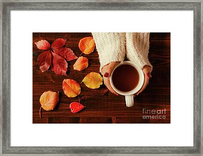 Woman Hands Holding Teacup Seen From Above Framed Print by Luigi Morbidelli
