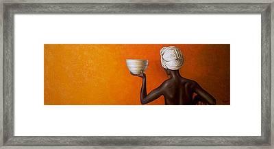 Woman Holding A Bowl Framed Print by Horacio Cardozo