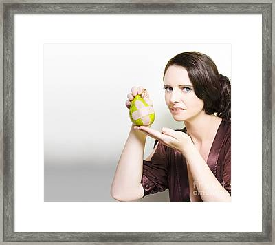 Woman Holding Bruised Fruit Framed Print by Jorgo Photography - Wall Art Gallery