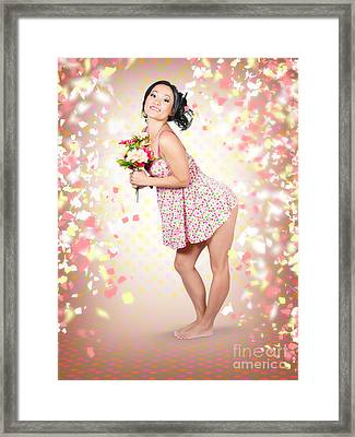Woman Holding Flowers In Hands. Spring Celebration Framed Print by Jorgo Photography - Wall Art Gallery