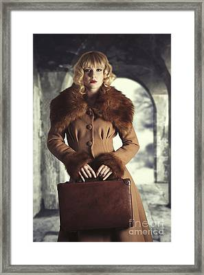 Woman Holding Suitcase Framed Print