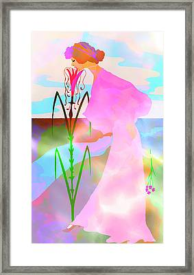 Woman In A Dream - Vintage Art Nouveau Illustration Framed Print by Rayanda Arts