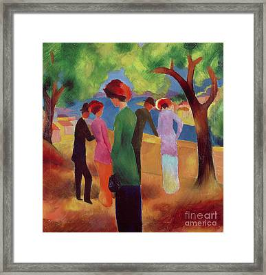 Woman In A Green Jacket Framed Print
