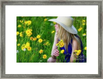 Woman In A Spring Meadow Framed Print by George Oze