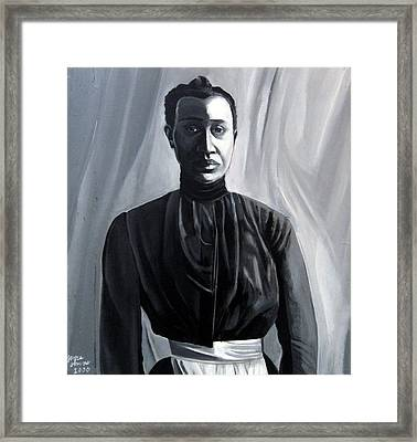 Woman In Apron Out Of The Box Series  Framed Print by Joyce Owens