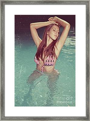 Woman In Bikini In The Water And Retro Look Image Finish Framed Print