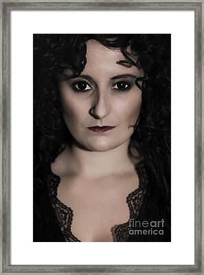 Woman In Black Framed Print by Amanda Elwell