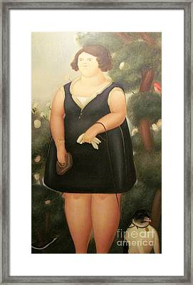 woman in Black Botero Framed Print