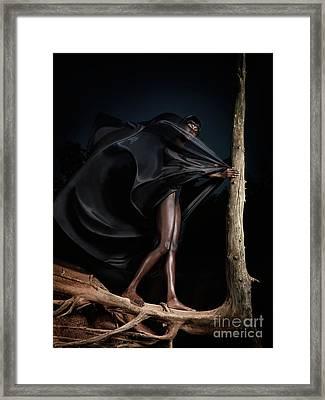 Woman In Black Flying Outfit Framed Print by Oleksiy Maksymenko