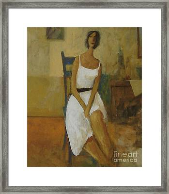 Woman In Blue Chair Framed Print by Glenn Quist