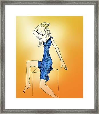 Woman In Blue Dress Framed Print by Keith A Link