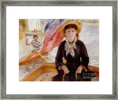 Woman In Boat With Canoeist Framed Print by Renoir