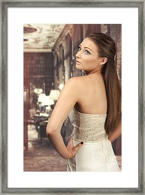 Woman In Drawing Room Framed Print