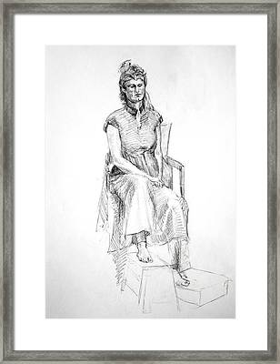 Woman In Dress Framed Print by Mark Johnson